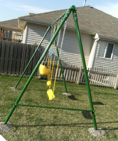 Metal swing set flexible flyer big adventure metal swing for How to build a swing set for adults